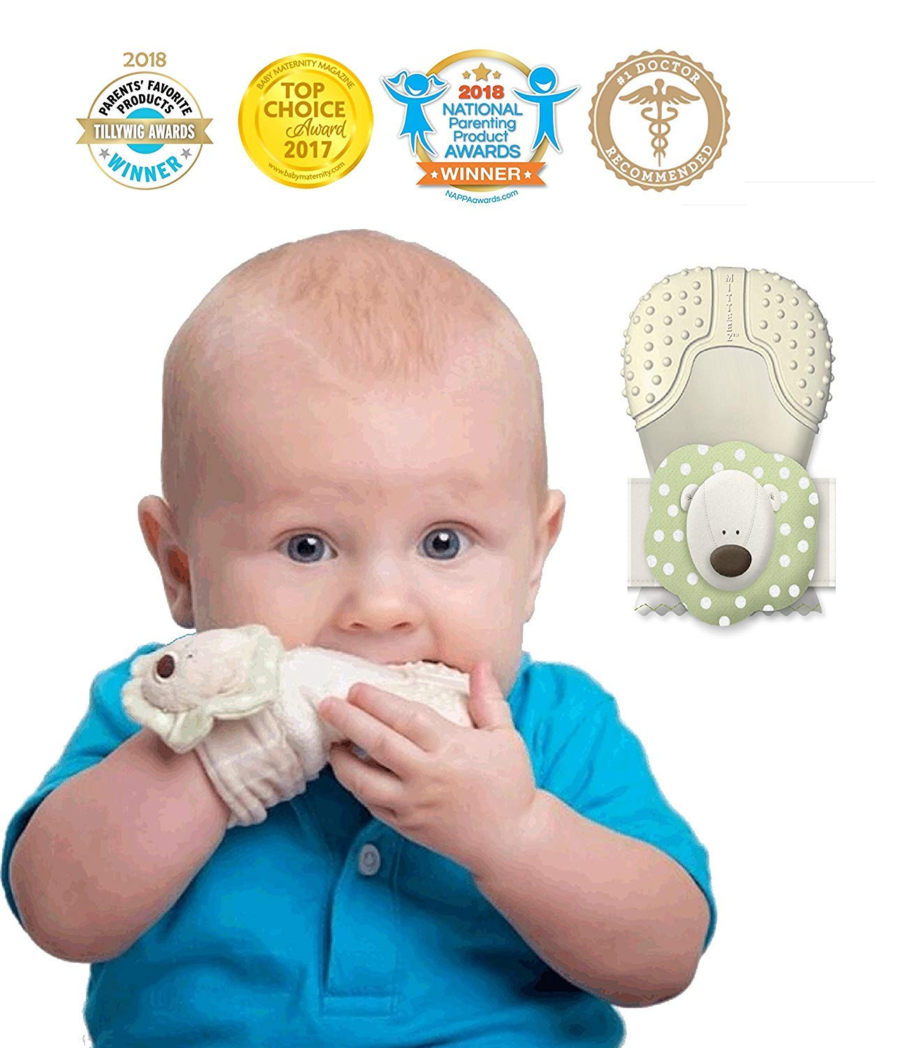 Mitteez Organic Baby Teether Mitten and Keepsake Toy for Babies 0-8 Months - Green by MITTEEZ