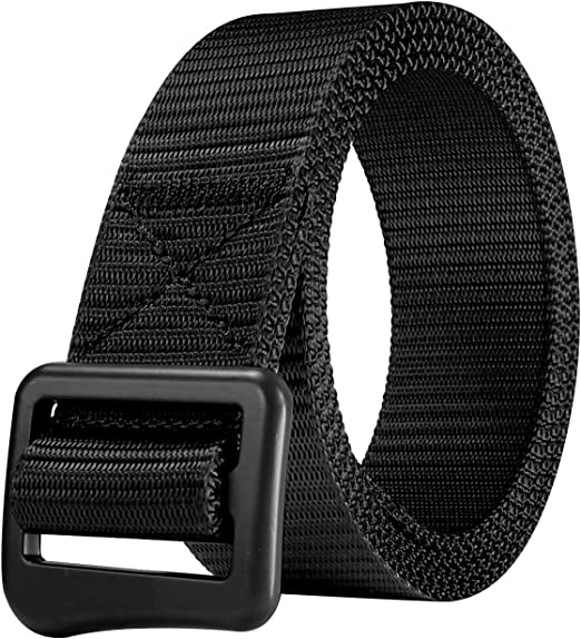 YouCY Mens Canvas Belt Military Quick-Drying Nylon Belt Outdoor Breathable Stretch Woven Mens Waist Belt Simple Mens Belt,Black