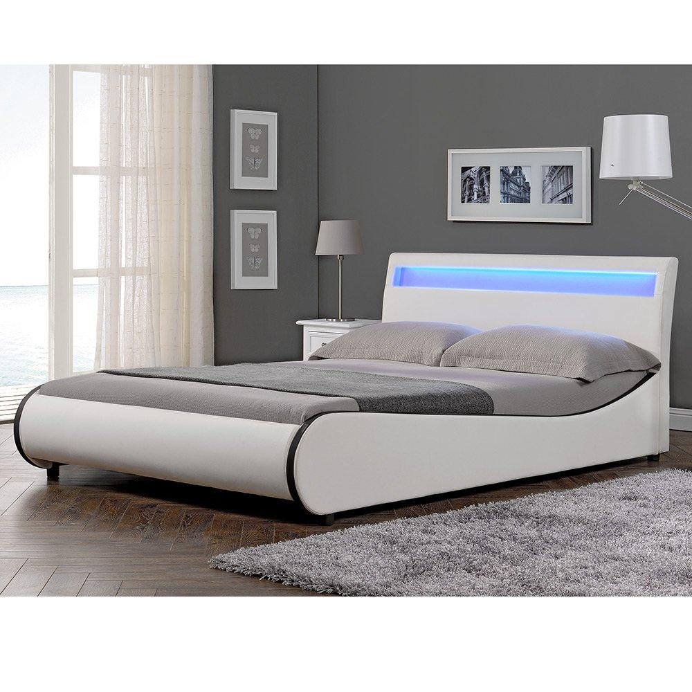 Moderne Polsterbetten corium led polsterbett valencia weiß 140x200cm modernes bett