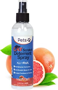 No Scratch Spray for Cats, Cat Repellent Spray for Indoor Outdoor Use, Cat Spray Deterrent - Protect Plants, Furniture, Floors
