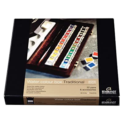 Rembrandt Watercolor Paint Wood Box Traditional Set, 22 Pans + 2 Accessories, General Color Selection: Arts, Crafts & Sewing
