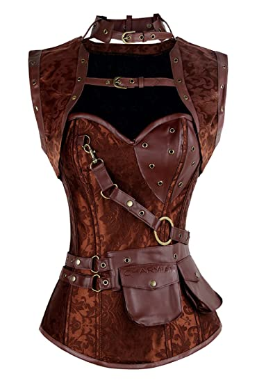 Steampunk Corsets & Belts | Underbust, Overbust Charmian Womens Steampunk Spiral Steel Boned Vintage Retro Corset Tops Bustier $52.99 AT vintagedancer.com