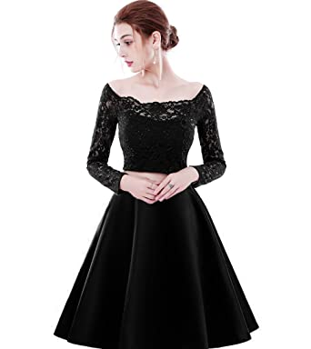 14a5e6cbbd Women s 2 Piece Homecoming Dress with Long Sleeves Short Prom Dress ...