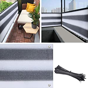 Balcony Privacy Screen Cover, 3.5ft x10ft Fence Screen Balcony Shield Cover UV-Resistant Visibility Reduction Windscreen Garden Fence with Cable Ties (3.5x10ft, Grey White)
