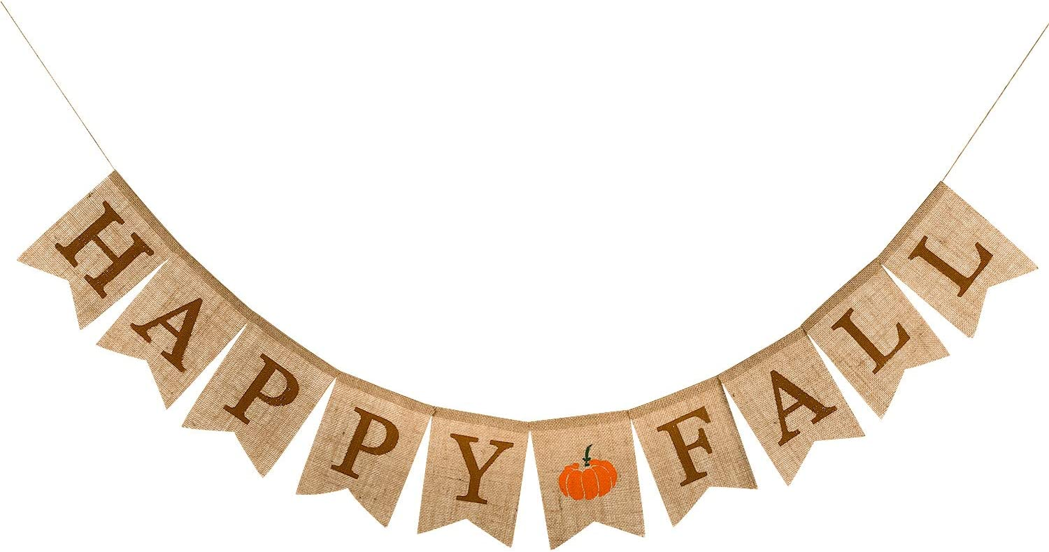 Whaline Happy Fall Pumpkin Burlap Banner Harvest Home Decor Bunting Flag Garland Party Thanksgiving Day Decoration
