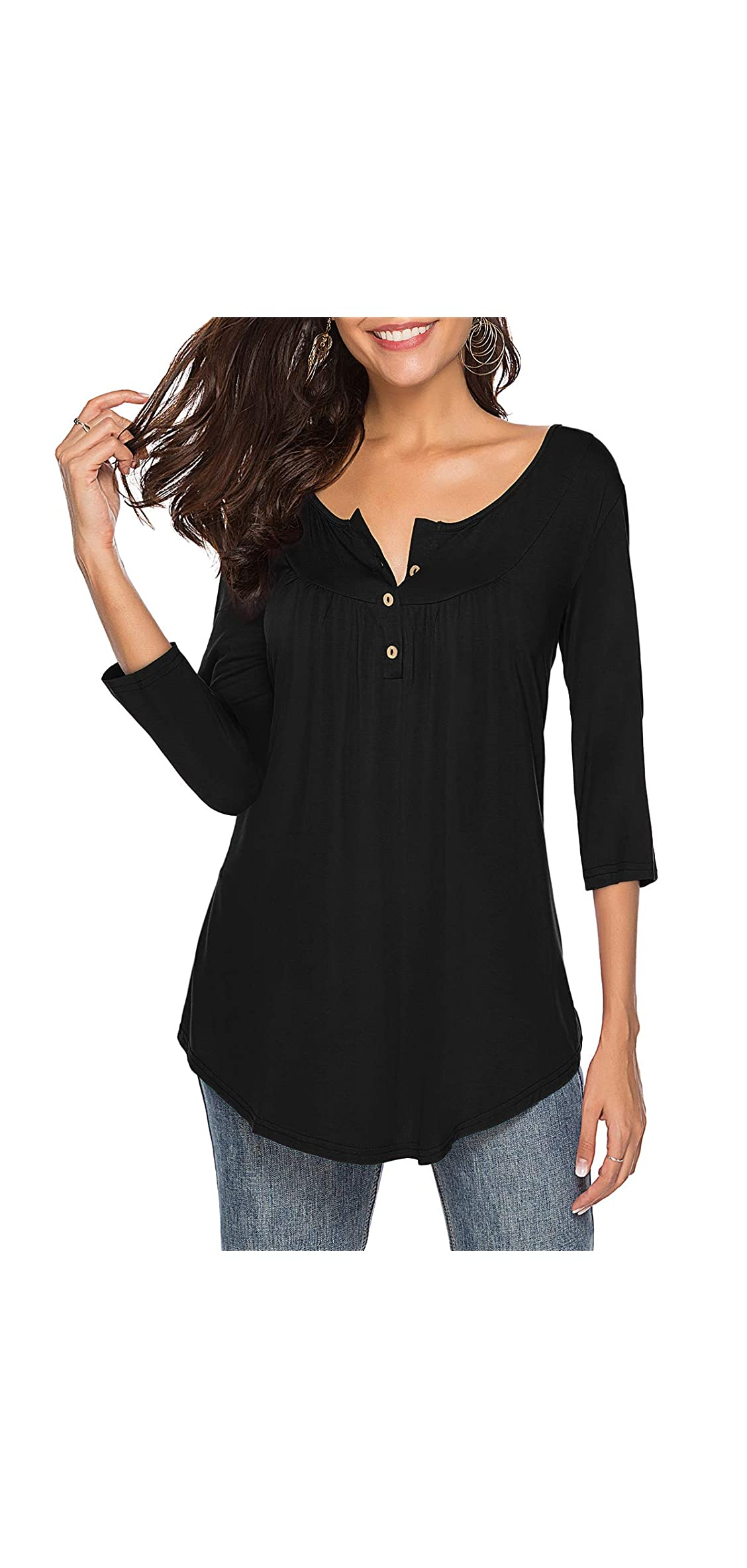Womens Shirts Casual Tee V Neck / Sleeve Button Up Fits