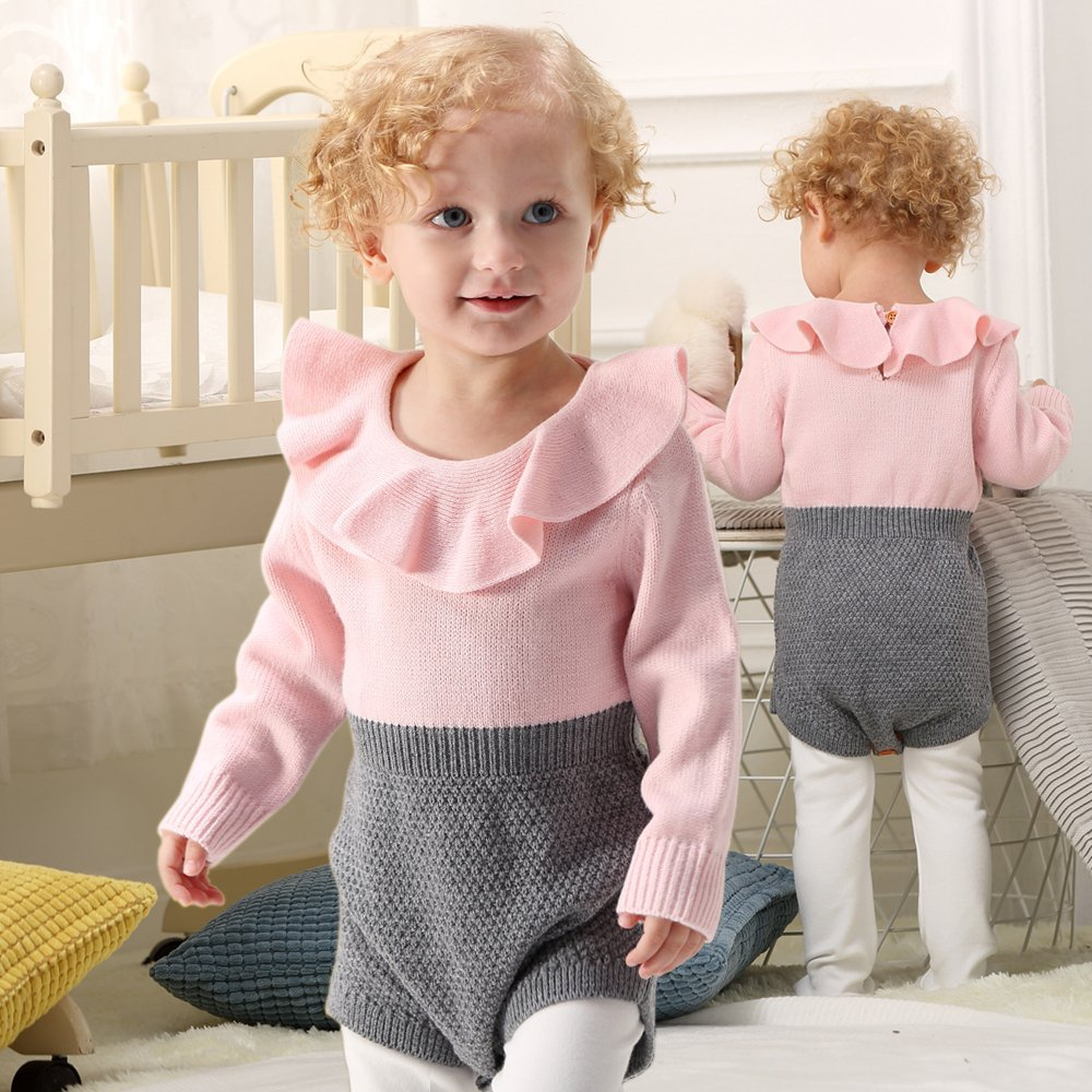 ROMPERINBOX Christmas Baby Winter Dresses Knitted Romper Long Sleeve Ruffles Jumpsuit for Babies Girls