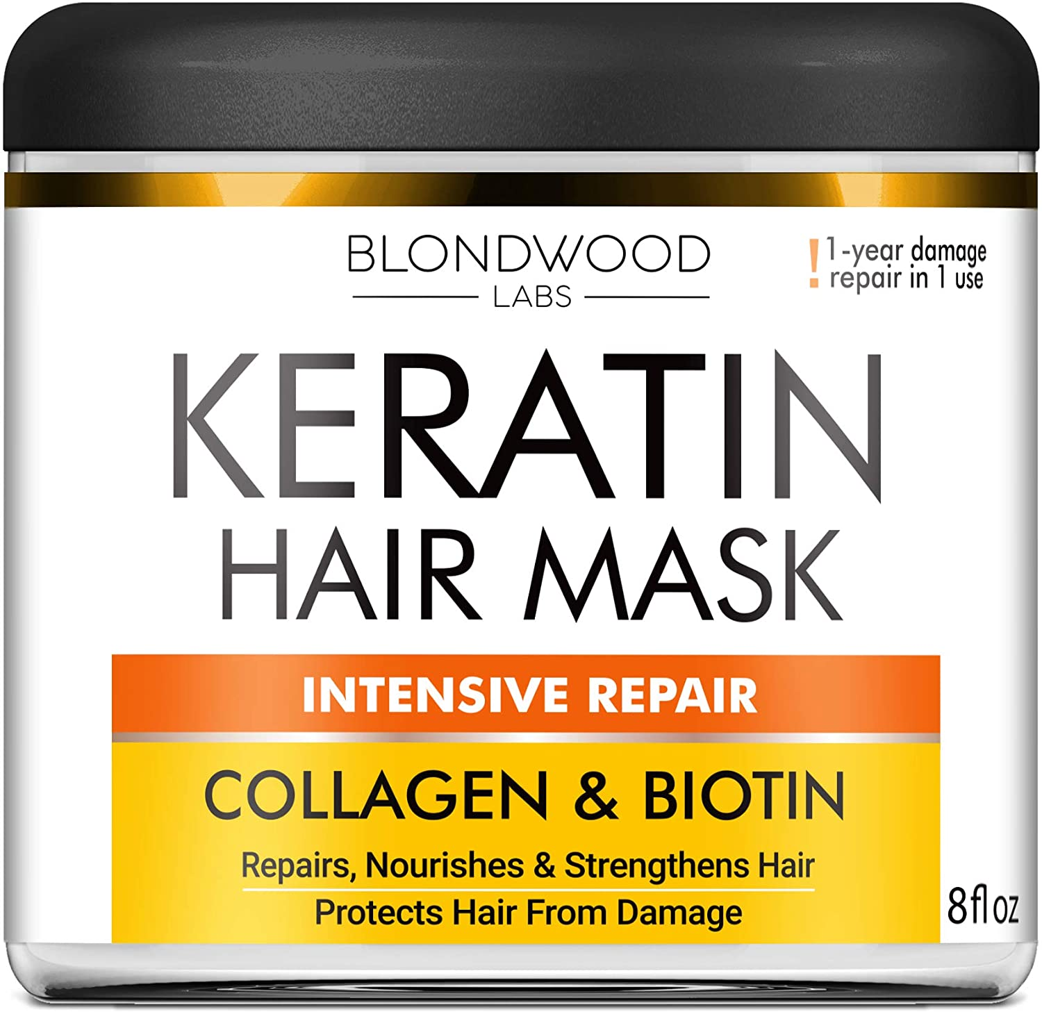 Biotin Collagen Keratin Treatment - Keratin Treatment for Dry & Damaged Hair - Collagen Hair Vitamin Complex - Best Hair Repair for Women & Men - Hair Nourishment with Panthenol - 8 oz