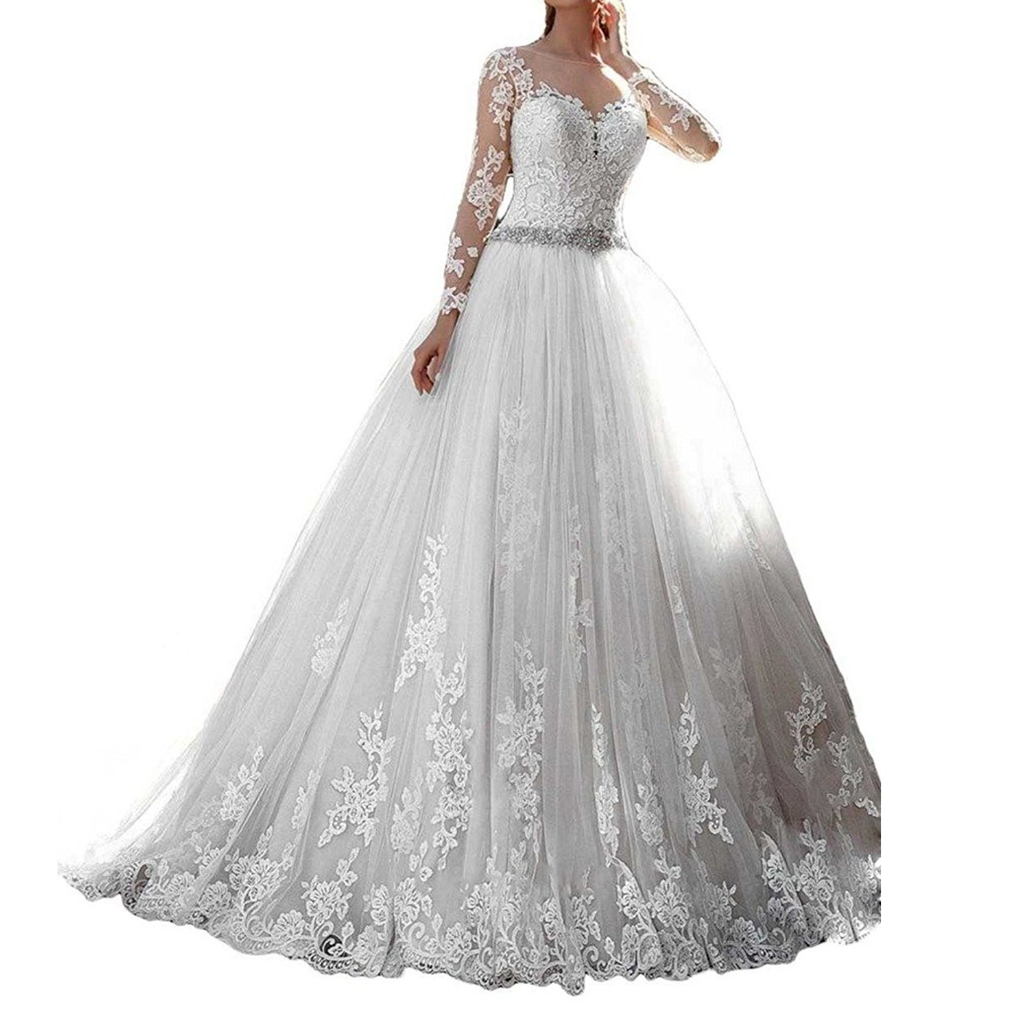 westcorler Luxury Wedding Dress Long Sleeves Ball Gown Lace Wedding Dresses (18plus, White)