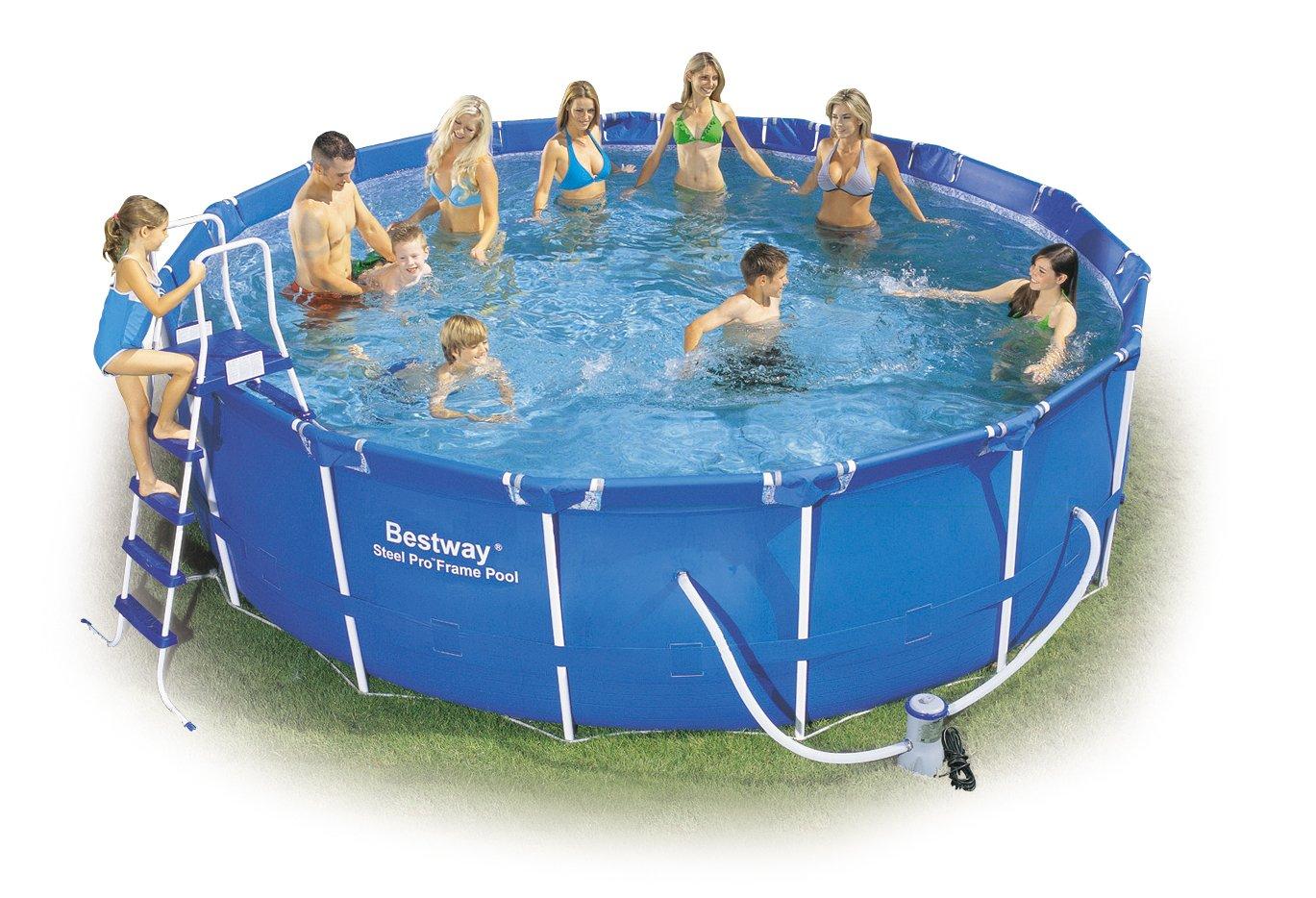 Bestway 56100GS Frame Pool Stahlrahmenbecken Set, 457 x 122 cm Splash Jr. mit Filterpumpe GS