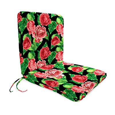 Plow & Hearth Classic Polyester Outdoor Chair Cushion with Ties, Seat 19'' x 17'' x 2.5''; Back 19'' x 19'' x 2.5'' - Cabbage Rose : Garden & Outdoor