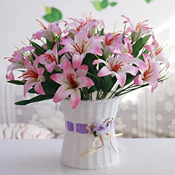 Amazon pink artificial flowers and lily ponds plastic weaving pink artificial flowers and lily ponds plastic weaving and flower baskets garden decor xhopos home mightylinksfo