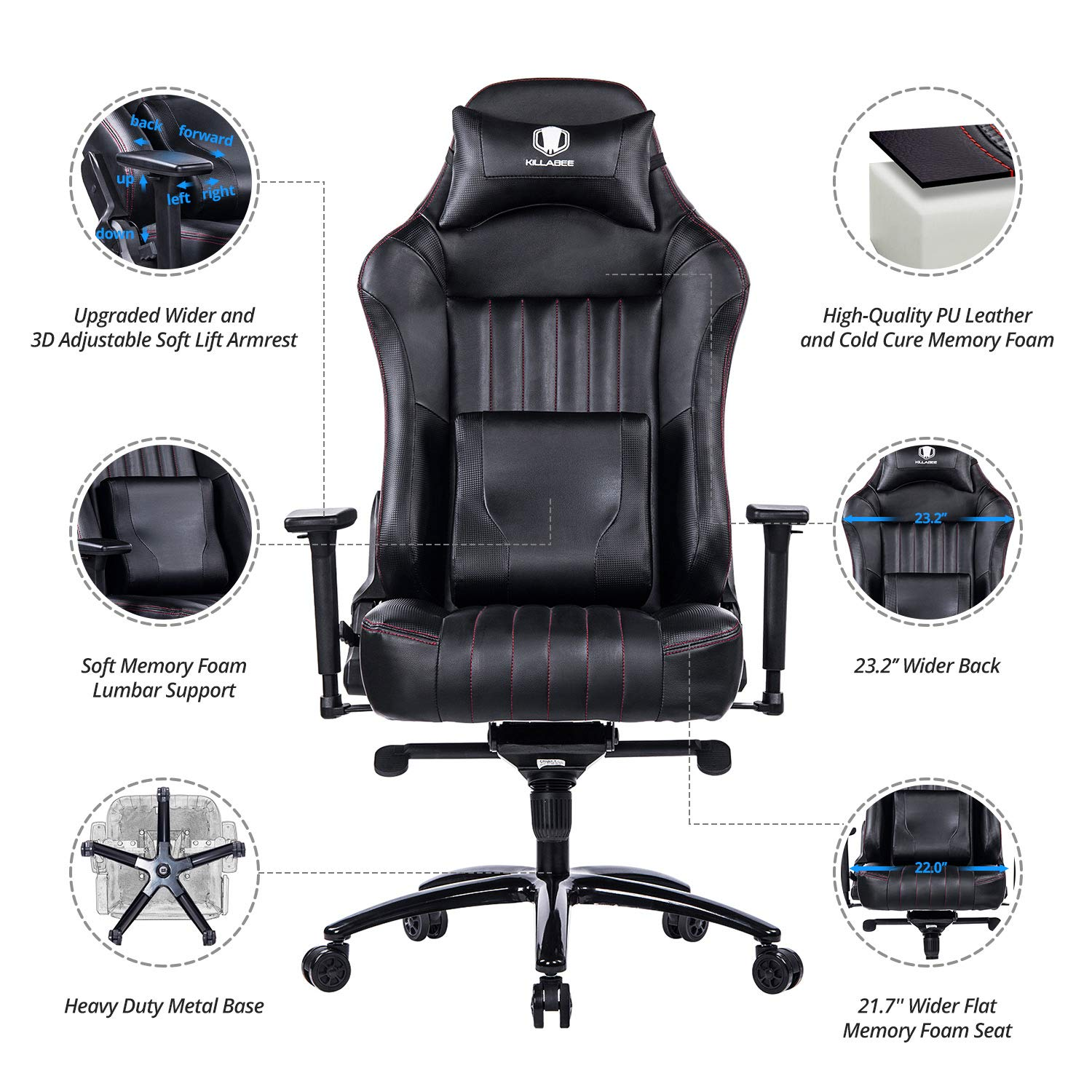 KILLABEE Big and Tall 400lb Memory Foam Gaming Chair - Adjustable Tilt, Back Angle and 3D Arms Ergonomic High-Back Leather Racing Executive Computer Desk Office Chair Metal Base, Black by KILLABEE (Image #4)