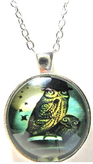 Glass Owl Necklace Bird Jewelry