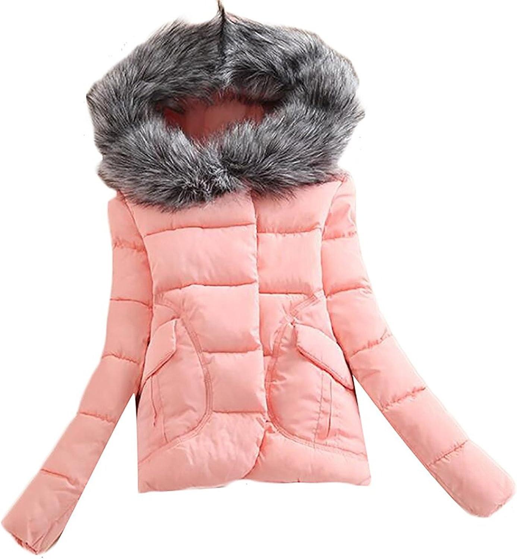 Doris Batchelor Trendy Womens Slim Puffer Faux Fur Hood Short Parkas Coats
