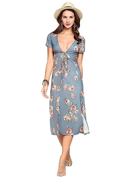 Vestidos Largos Elegantes con Cuello en V Profunda con Estampado Floral de Boho Maxi (S