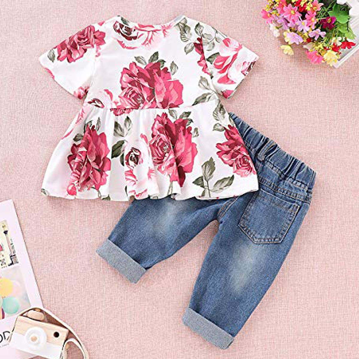 Mutigge Little Girls Strapless Outfit Ripped Jeans Pant Clothing Set