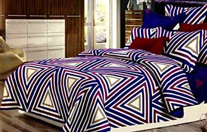DESTINY MULTI COLOR 5D BEDSHEET WITH PILLOW COVERS,BRIGHT COLOR TRIANGLE  SHAPES PRINT BEDSHEETS,