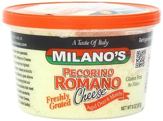 Milano S Romano Cheese Deli Cups Grated Pecorino 8 Ounce