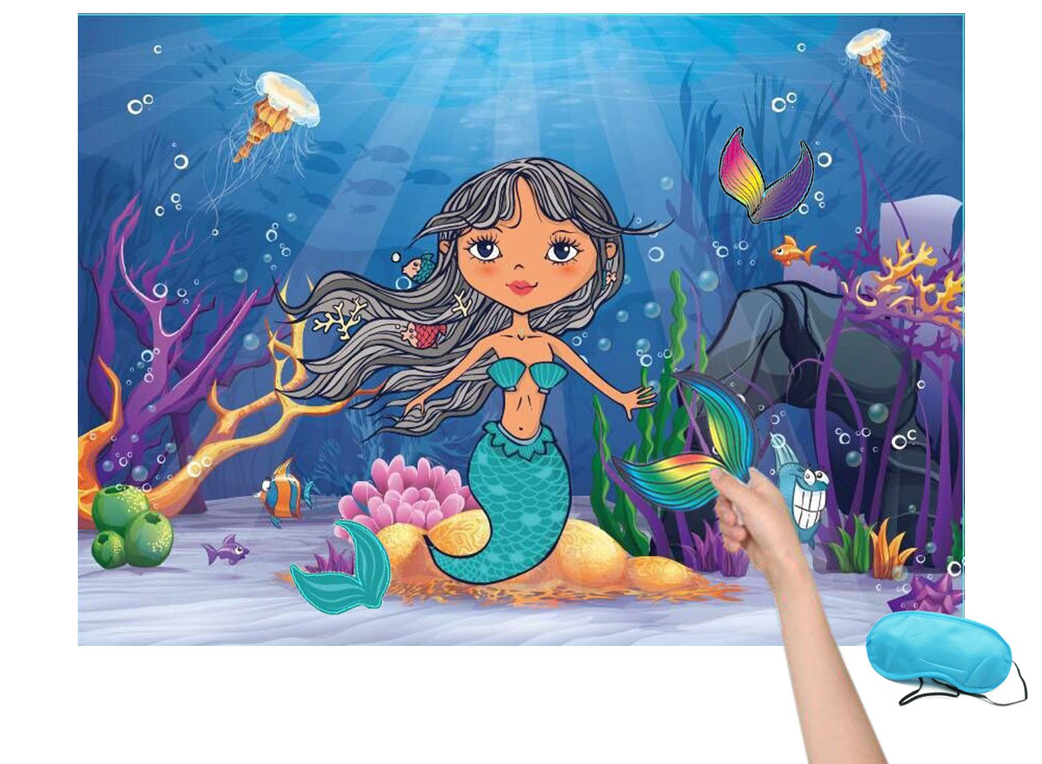 Pin the Tail on the Mermaid Under the Sea Birthday Party Favor Games for Kids with 16 Reusable Tails by VEHIRIN