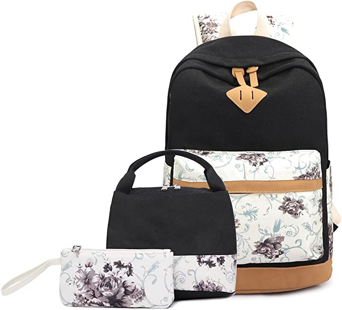 luosh 4 Piece Womens Backpack Handbags Canvas Girls School Bags Large Capacity Travel Daypack Set for Teenagers