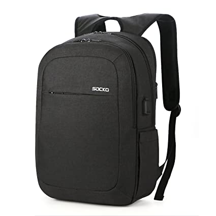 55d34f65fc2 SOCKO 17.3 Inch Laptop Backpack w/USB Charging Port,Water Resistant  Business Backpack Slim