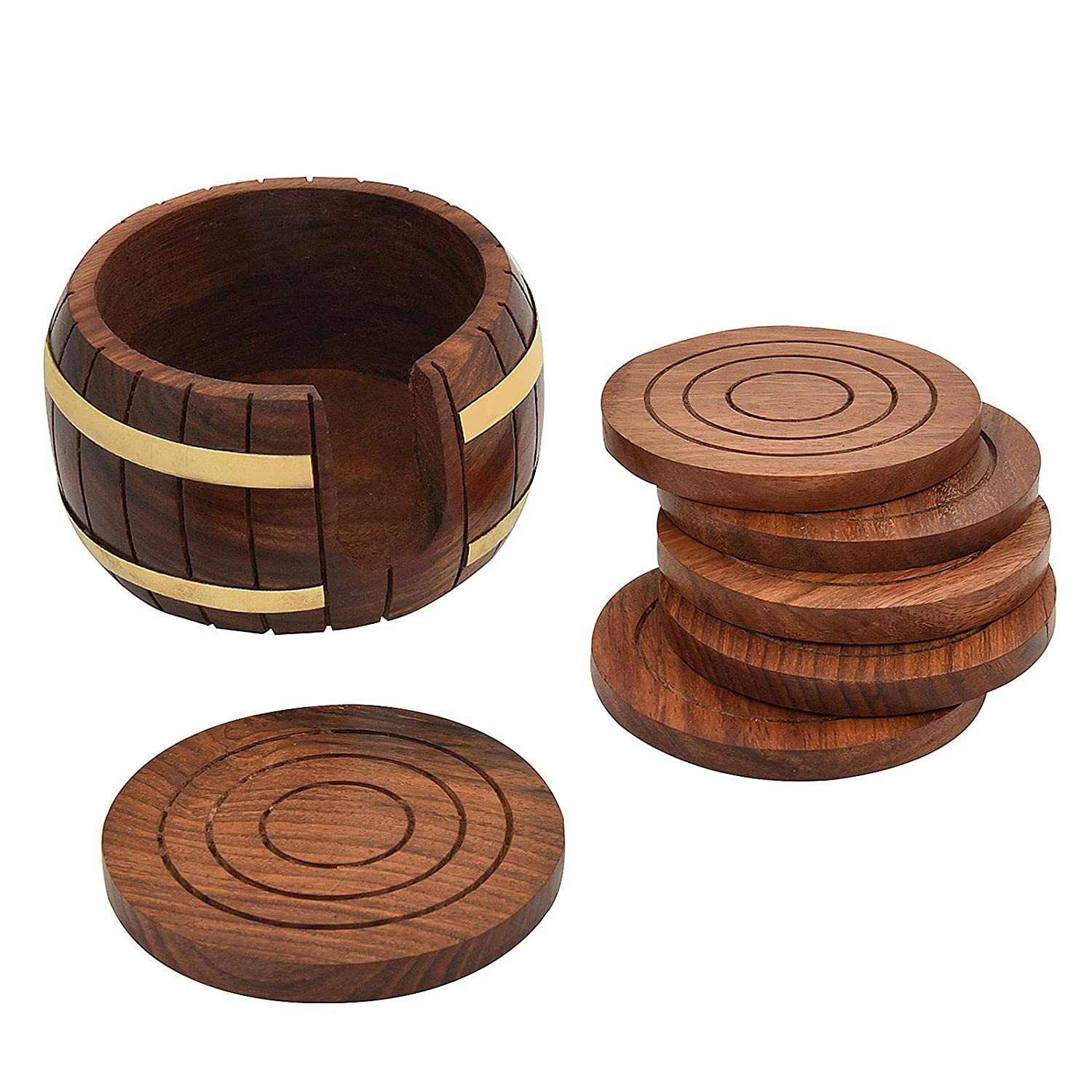 Buy Fine Craft India Wooden Tea Coaster Wooden Drink Coaster Wooden Table Coaster Set Of 6 Dimension Length 4 Width 4 Height 2 Inch Weight 300 Grams