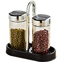 2 Set Salt and Pepper set with Cylindrical Glass Bottle, with Black Tray