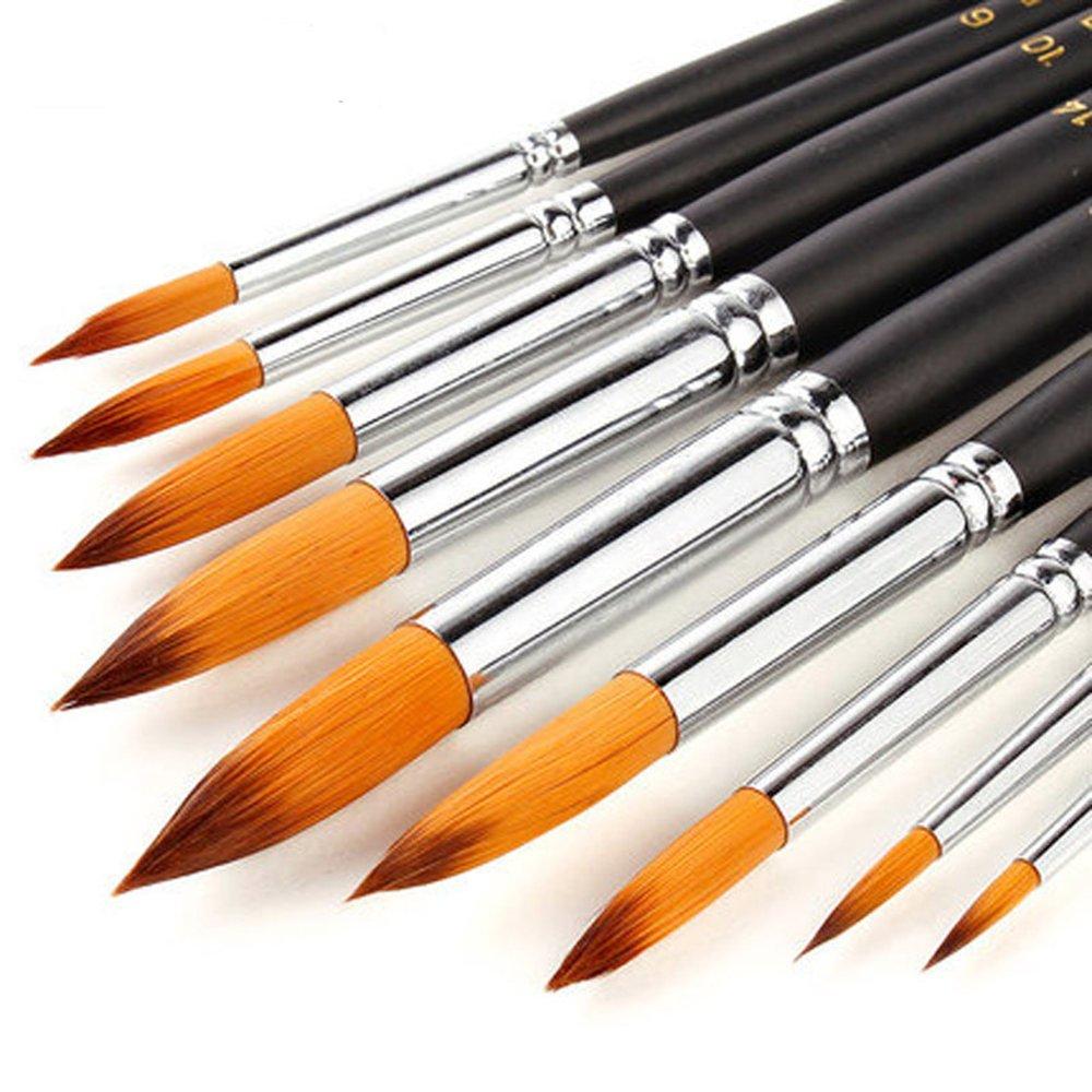 9pz punta rotonda pennelli per arte acrilico olio acquerelli pittura artista pennello set con lungo manico in legno per Art Supplies Golden maple