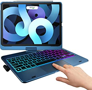 TYPECASE Touch iPad Air 4 10.9 inch Keyboard Case - Magic Keyboard Style, Compatible with Apple Pencil, Trackpad & Smart Backlit Keys, Keyboard for iPad Air 10.9 2020, iPad Pro 11 2018 (Pacific Blue)