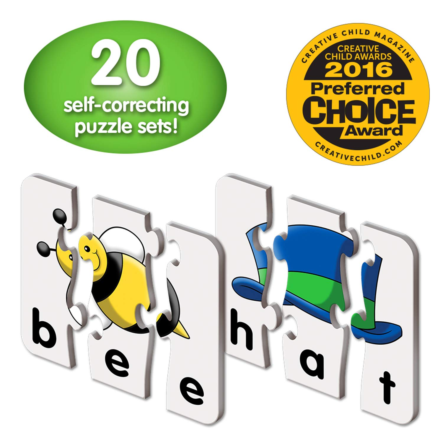The Learning Journey: Match It! - 3 Letter Words - 20 Self-Correcting Reading & Spelling Puzzles with Matching Images
