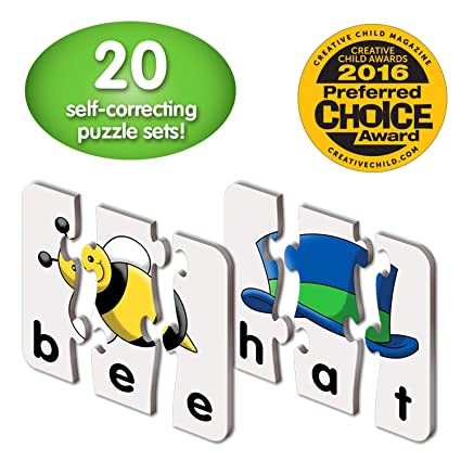 Amazon.com: The Learning Journey: Match It! - 3 Letter Words - 20 Self-Correcting Reading & Spelling Puzzles with Matching Images: Toys & Games