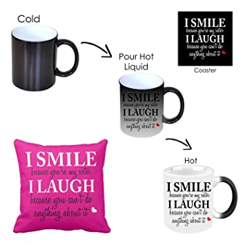 Buy GiftsmateTM Birthday Bhaidooj Gifts For Sister Funny Teasing I Smile Laugh Magic Mug Cushion Online At Low Prices In India