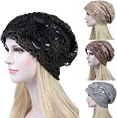 2018 Latest Hot Style!!!Teresamoon Women India Muslim Stretch Turban Hat Sequins Lace Hair Loss Head Scarf Wrap