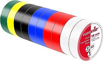 Poppstar 2x 10m Universal Isolierband Klebeband Abdichtband 19mm breit,schwarz