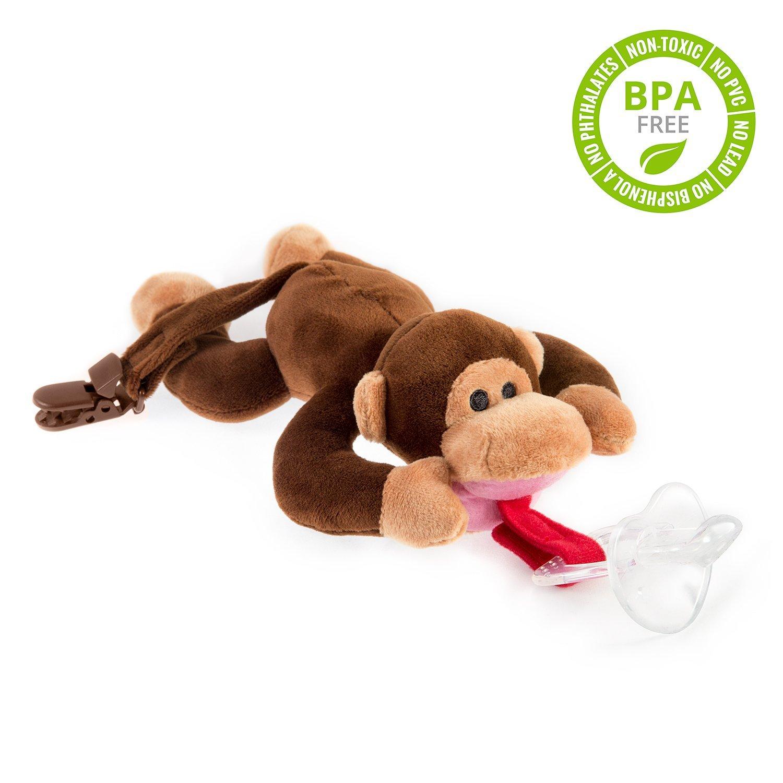 babyhuggle pink monkey pacifier stuffed animal