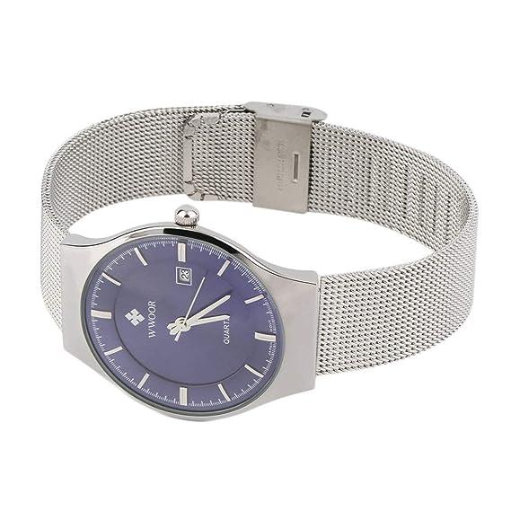 WWOOR Relojes de Cuarzo Simple Super Thin Reloj de Cuarzo Resistente al Agua Casual Reloj de Moda y Hombres de Moda: Amazon.es: Relojes