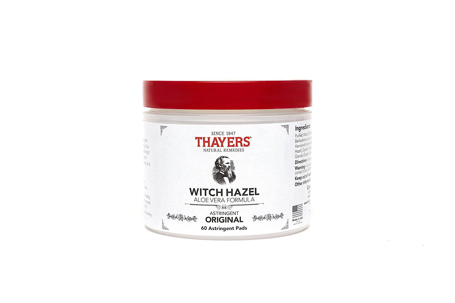 Thayers Original Witch Hazel Astringent Pads with Aloe Vera Formula, 60 Count 6577