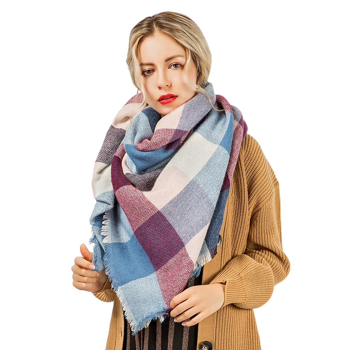 WISH CLUB Women\'s Winter Scarf Warm Lattice Large Blanket Plaid Wrap Shawl girls Scarves Ladies Outdoor Accessories
