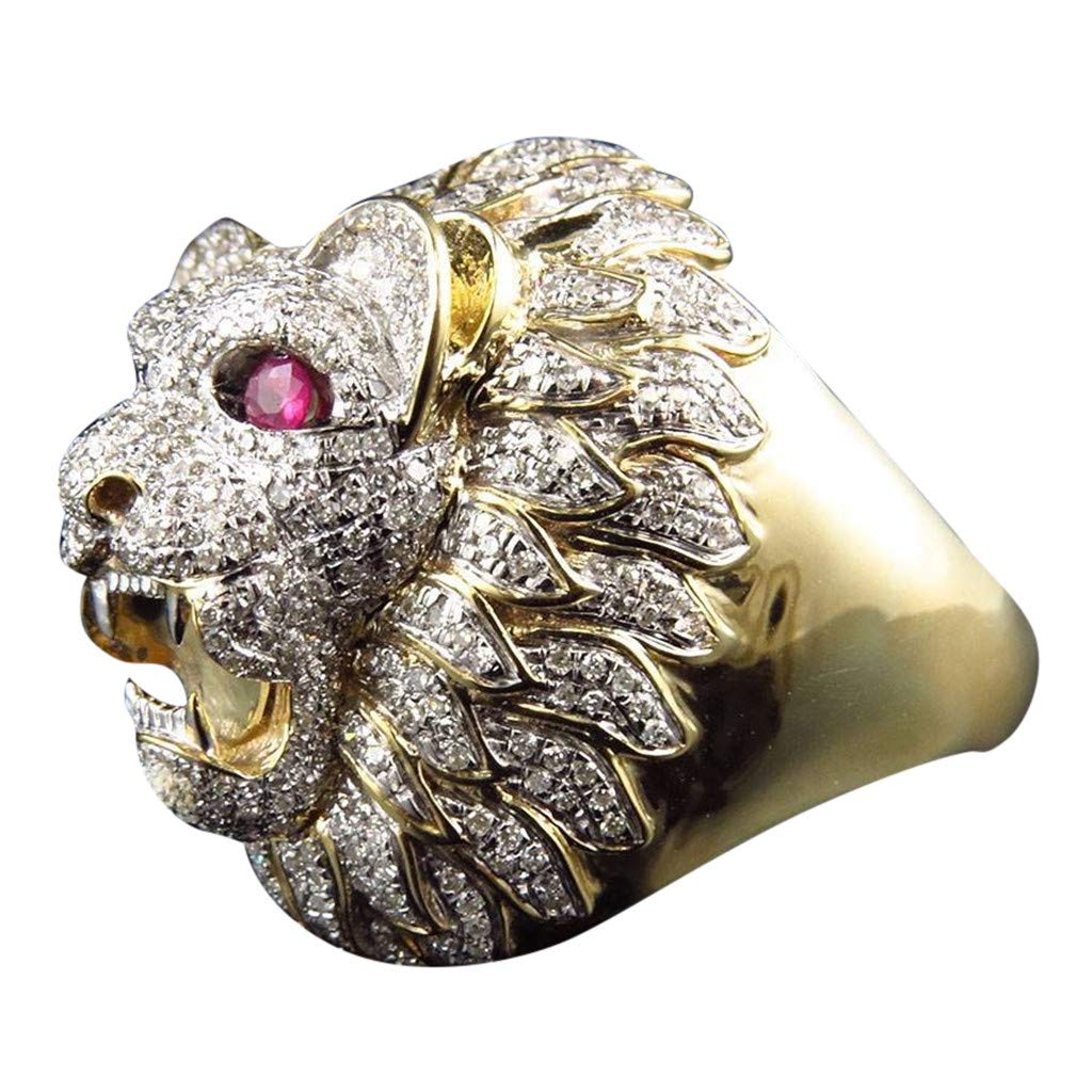 Gbell Men Fashion Punk Ring - Lion Head Gold Filled Natural Ruby Gemstone Diamond Ring for Men Boys Jewelry Gifts (8) by Gbell (Image #1)