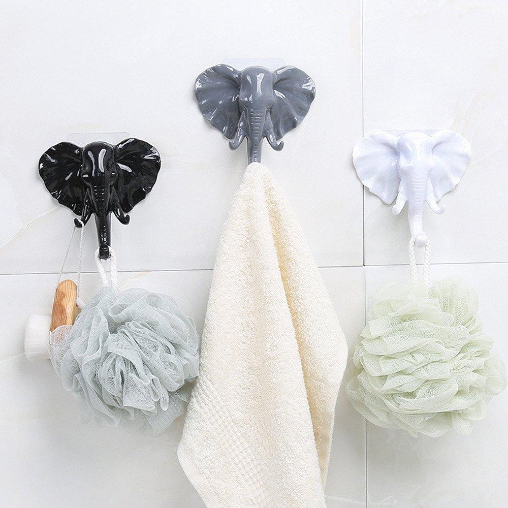Elephant Head Hooks Wall Door Hook Sticky Hanger Coat Keys Hanging Holder Home