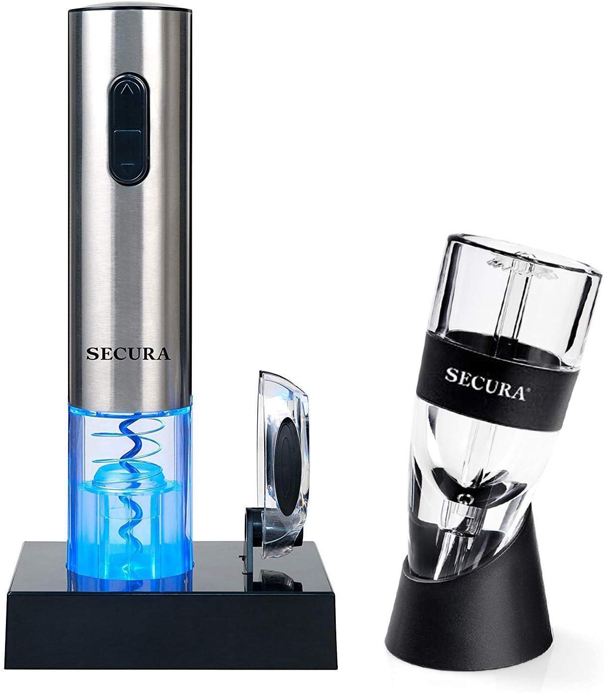 Secura SWO-3N-AR Premium Lover s Gift Set Electric Opener, Foil Cutter, Wine Aerator, 7pc