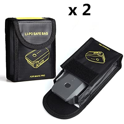 2 Pcs Ignifuge Anti-Explosion Lipo Batterie Coffre-Fort Lipo Batterie Garde Sûr Poche Sac pour DJI Mavic Pro Batterie De Stockage (DJI Mavic Non Inclus)