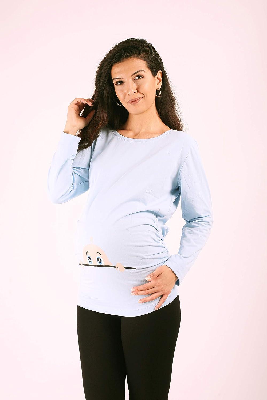 Langarm M.M.C Neugieriges Baby Lustige witzige s/ü/ße Umstandsmode Umstandsshirt mit Motiv f/ür die Schwangerschaft Schwangerschaftsshirt