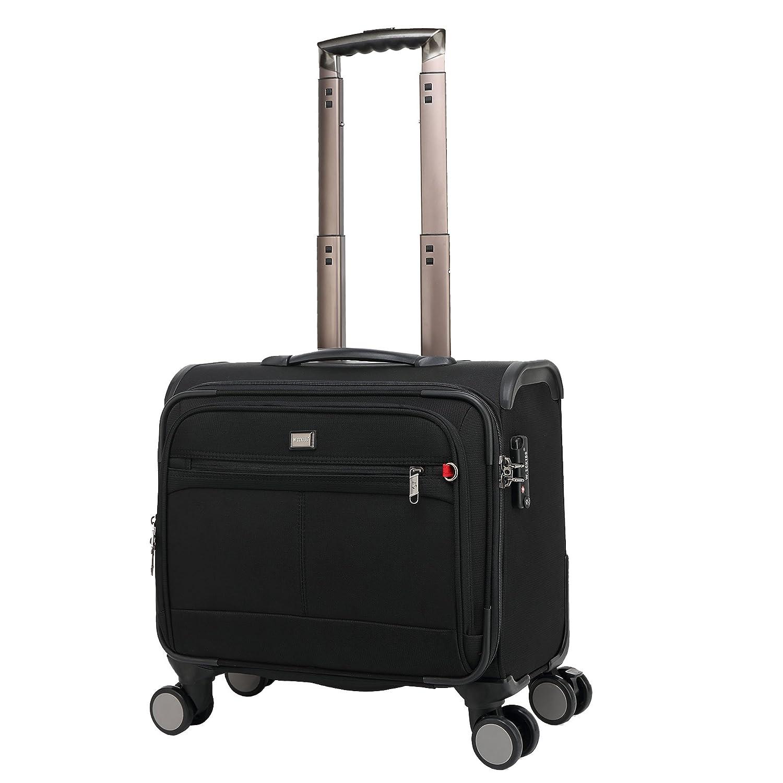 クロース(Kroeus)ソフトキャリーバッグ スーツケース 機内持込 小型 ビジネス TSAロック搭載 4輪 ネームタグ付き ブラック B0723CK36D  ブラック