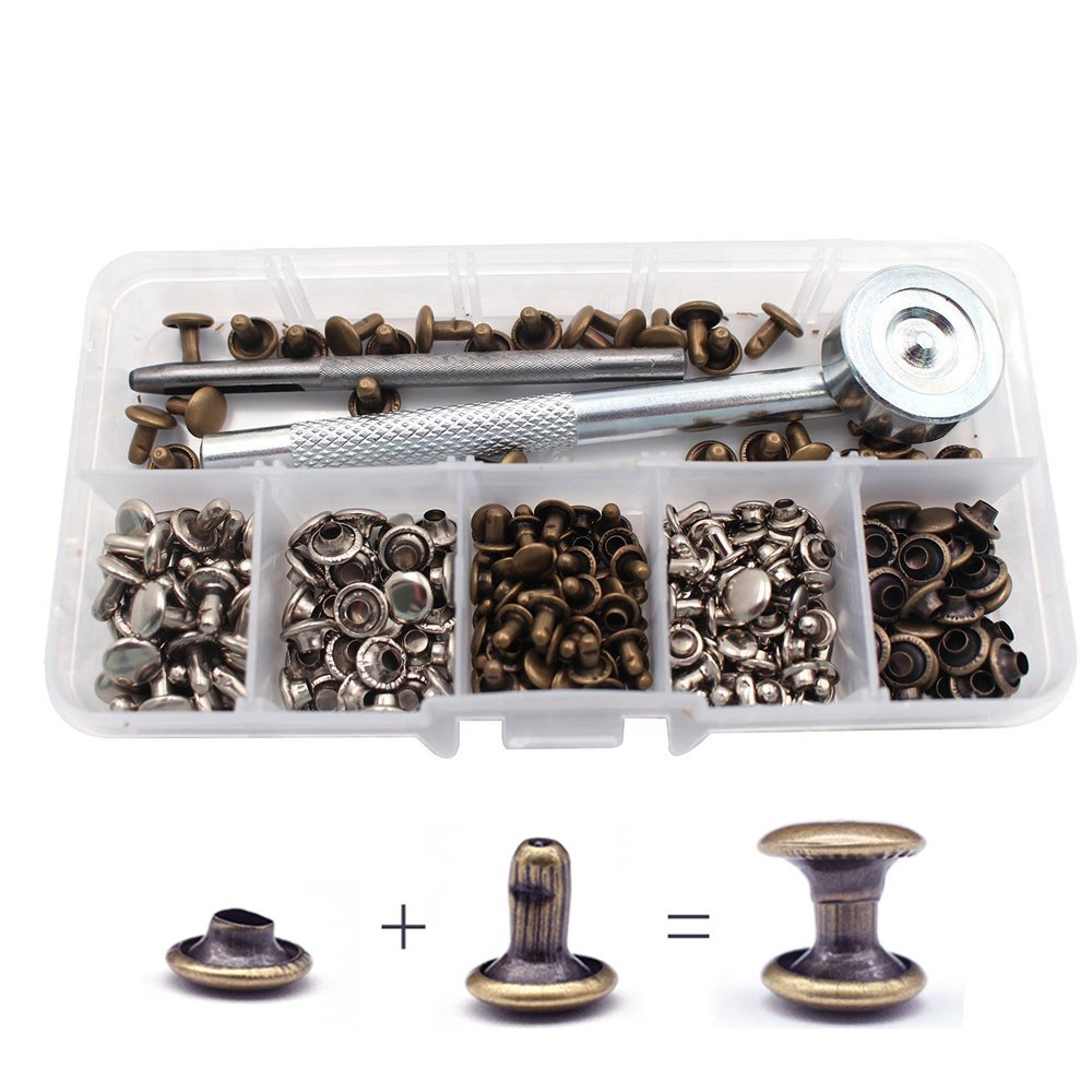 2 Sizes Bestgle 120 Sets Leather Rivets Double Cap Rivet Tubular Metal Studs with 3 Fixing Tool for Leather Craft Repairing Decoration 2 Colors