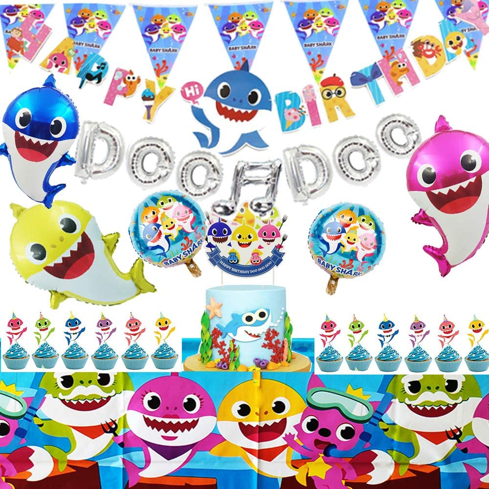 Baby Shark Party Supplies, Baby Shark Theme Birthday Party Decoration,Baby Shark Party Favors.Birthday Party For Girls.,Boys,Children Carnival Party Decor ,DOO DOO Balloons. Baby Shark Family Ballons,Gifts For Boys Girls Kids Baby Shower.Sharks For 1st ,2nd,3rd Birthday.