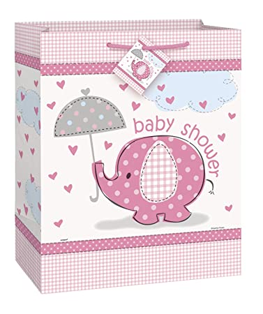 Pink Elephant Girl Baby Shower Gift Bag