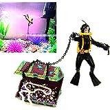 Figura de acción de cazador de tesoros para decoración de acuario, no tóxica