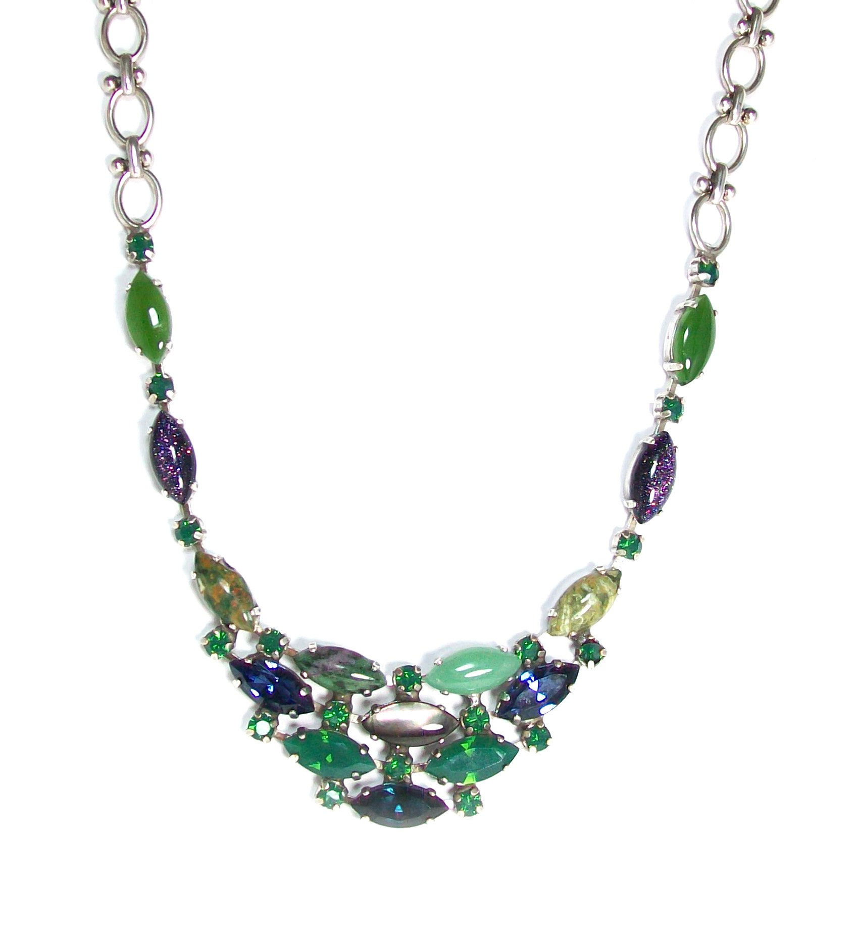 Mariana Antique Silver Plated Swarovski Crystal Collar Necklace, 16+4'' Extender by Mariana